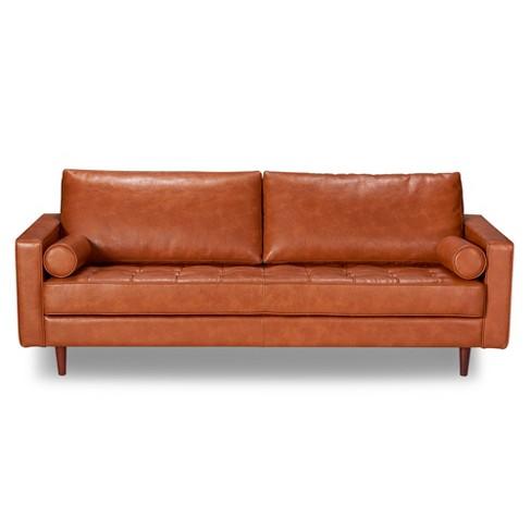 Zander Mid-Century Modern Leather Sofa Caramel - Aeon : Target