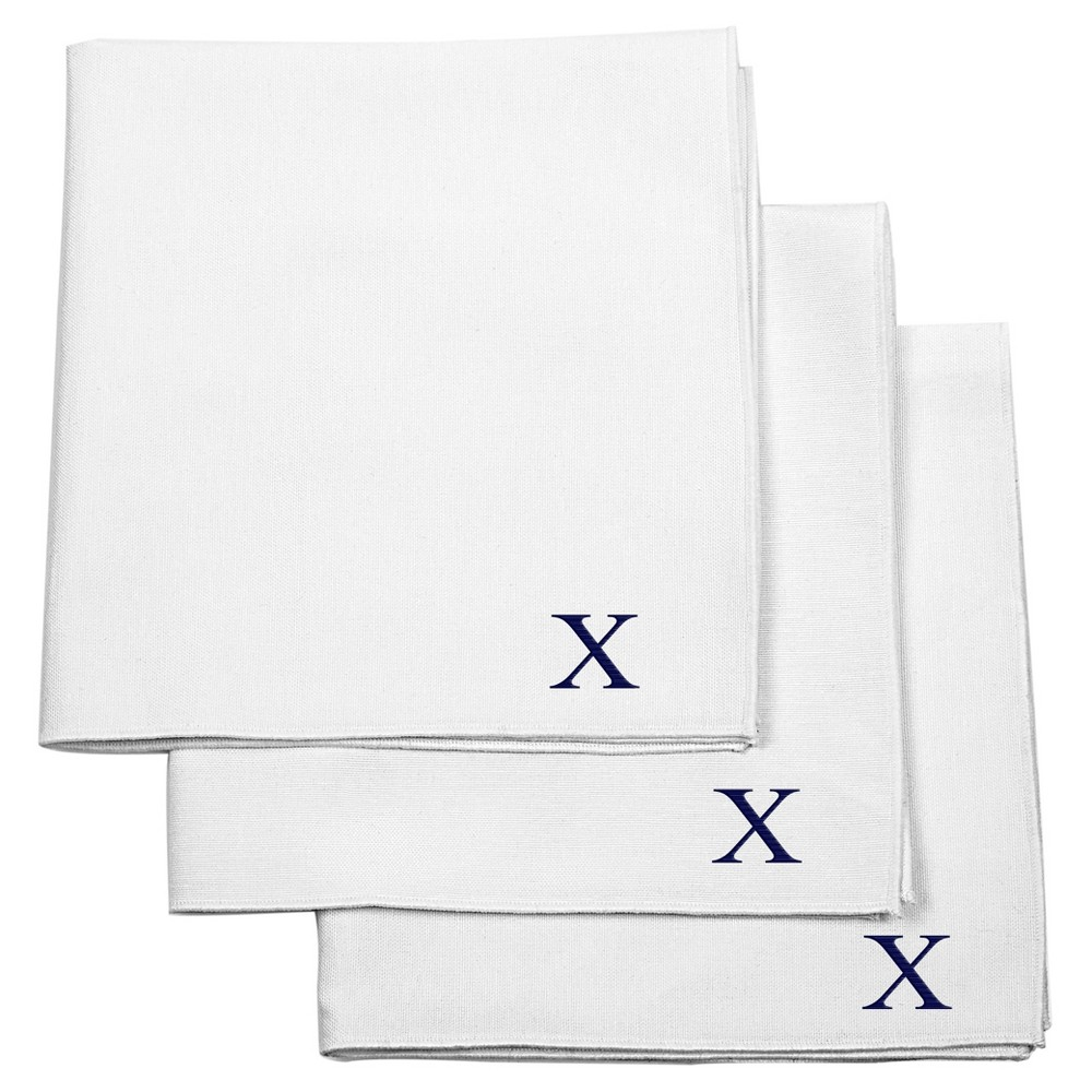 Monogram Groomsmen Gift Handkerchief Set - X, White