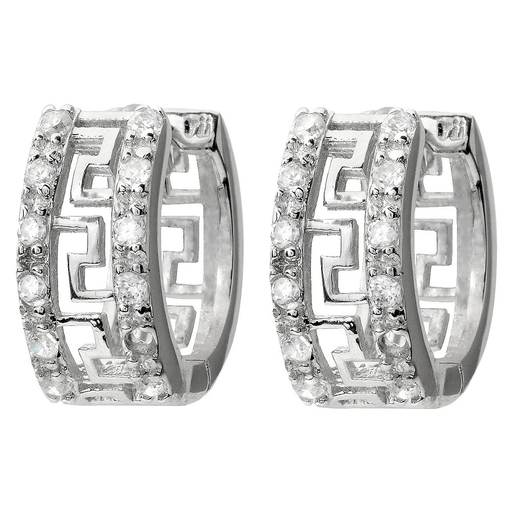 1/4 CT. T.W. Tressa Collection Round Cut Cubic Zirconia Pave Set Hoop Earrings - Silver, Girl's