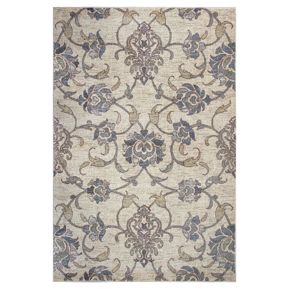 Ivory Damask Pressed/Molded Accent Rug 2'2