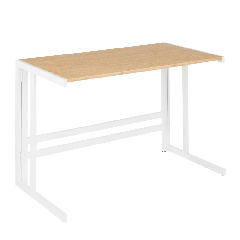 Metal and wood create the mixed material design of the LumiSource Roman Office Desk. A contemporary take on industrial design, featuring an angular metal framing nicely contrasted by the rustic wood tabletop. The perfect size for a home office with a variety of color combinations to choose from. Also available in an L-shape design. Color: Natural.