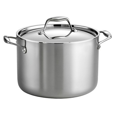 Tramontina Gourmet Tri-Ply Clad Induction-Ready Stainless Steel 8 QT Covered Stock Pot