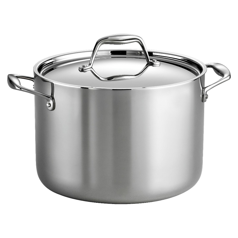 Tramontina Gourmet Tri-Ply Clad Induction-Ready Stainless Steel (Silver) 8 QT Covered Stock Pot