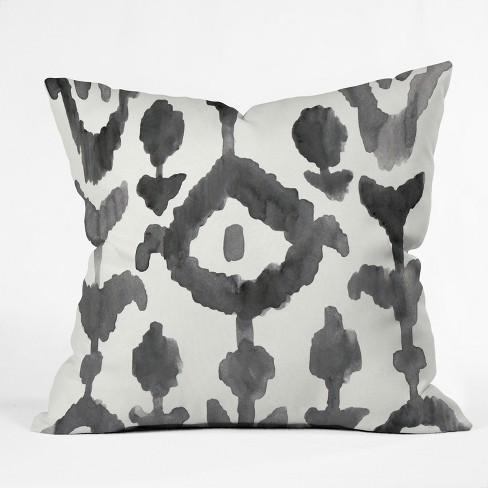 Natalie Baca Painterly Flower Ikat Throw Pillow Black / White - image 1 of 3