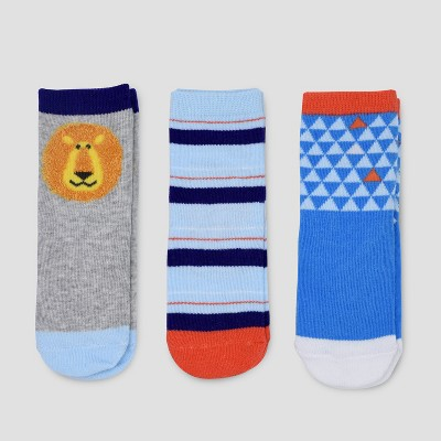 Toddler Boys' 3pk Crew Safari Socks Cat & Jack™ 12-24M