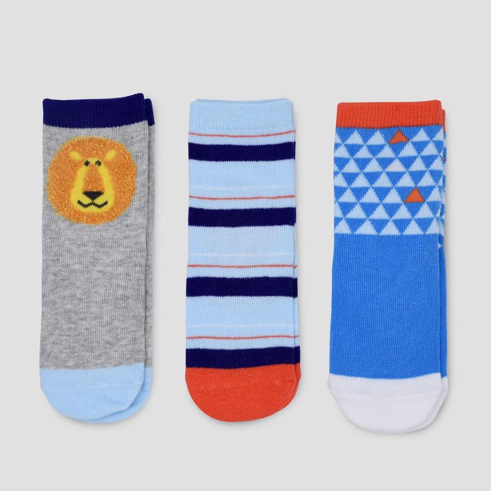 Toddler Boys' 3pk Crew Safari Socks - Cat & Jack Grey/Blue 12-24M, Multicolored