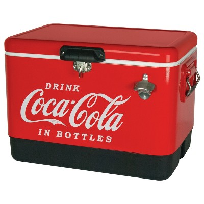 Koolatron Large 54 Quart 85 Can Capacity Portable Retro Coca-Cola Ice Chest Stainless Steel Hard Cooler with Built In Bottle Opener, Red