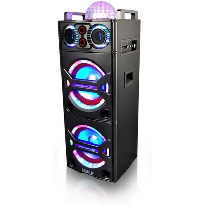 Pyle PSUFM1043BT 200 Watt Portable Outdoor Bluetooth Speaker Karaoke System with Flashing Party Lights and Wireless Microphone Included