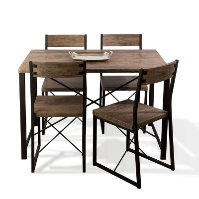 5pc Urban Blend Dining Set Woodgrain/Black - Atlantic