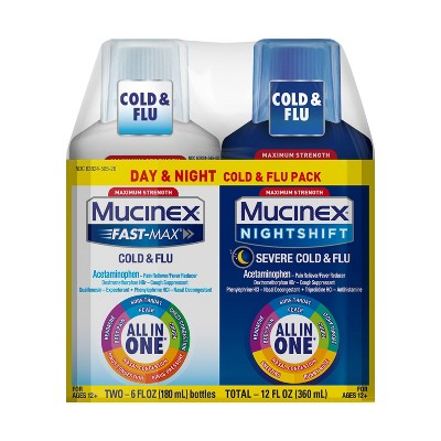 Mucinex Fast-Max Adult Liquid Cold & Flu Pack - Day & Night - 12 fl oz