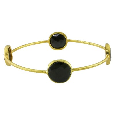 13mm Onyx Bangle in 22k Gold Plated Brass - Black
