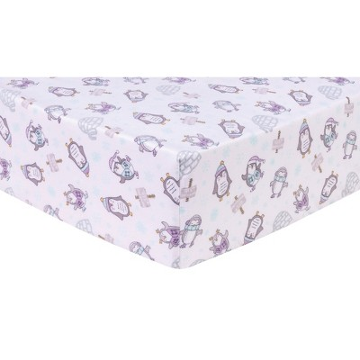 Trend Lab Deluxe Flannel Fitted Crib Sheet - Happy Penguins