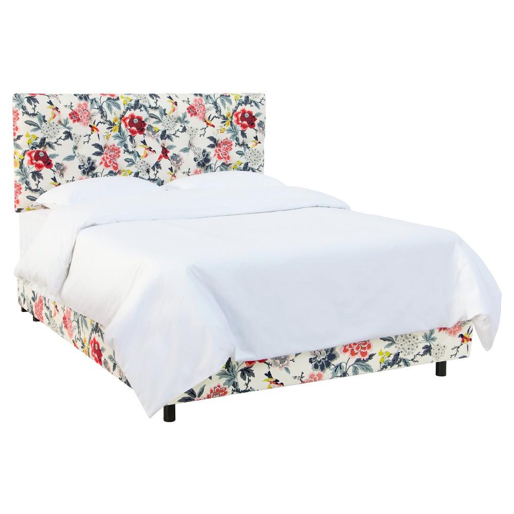 King Edwardian Tufted Bed Patterned Candid Moment Black - Skyline Furniture