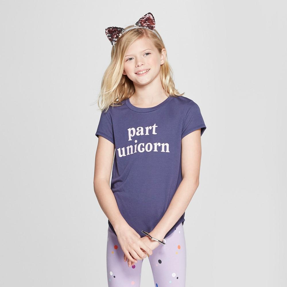 Grayson Social Girls' 'Part Unicorn' Short Sleeve T-Shirt - Navy M, Blue