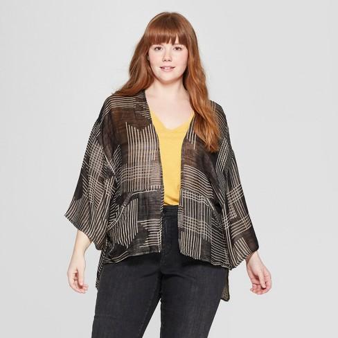 Women's Plus Size Woven Geo Kimono - Universal Thread™ Black/Tan - image 1 of 2