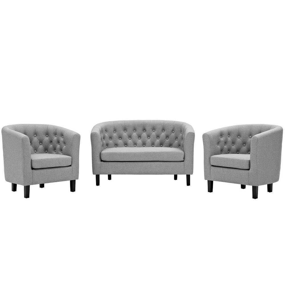 Image of 3pc Prospect Upholstered Fabric Loveseat & Armchair Set Light Gray - Modway