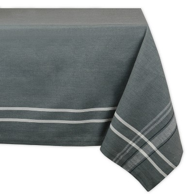 84 x60  French Stripe Chambray Tablecloth Gray - Design Imports