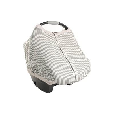 Little Unicorn Cotton Muslin Car Seat Canopy - Gray Stripe