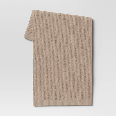 "50""x60"" Knit Throw Blanket Neutral - Threshold™"