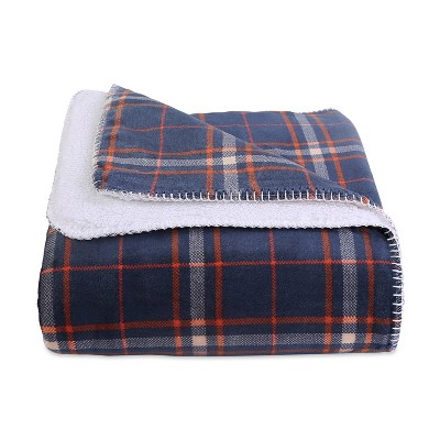 "60""x70"" Reversible Plaid and Sherpa Throw Blanket Navy - Better Living"