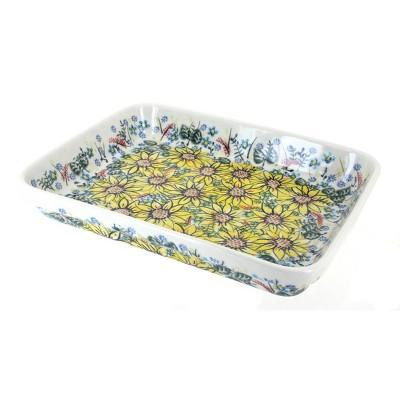 Blue Rose Polish Pottery Sunflower Maze Large Rectangular Baker