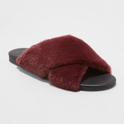 Women's Frannie Crossband Faux Fur Slide Sandals - A New Day™ Purple 6.5