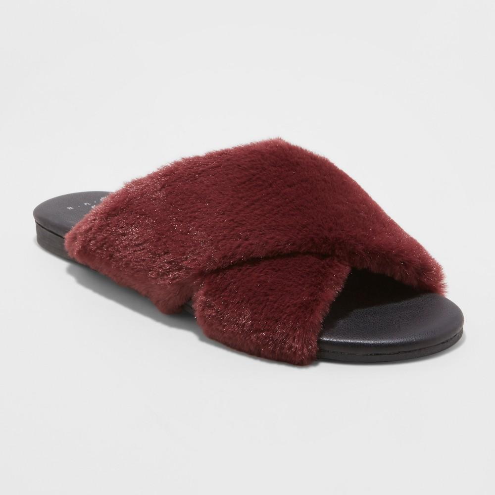 Women's Frannie Crossband Faux Fur Slide Sandals - A New Day Purple 11