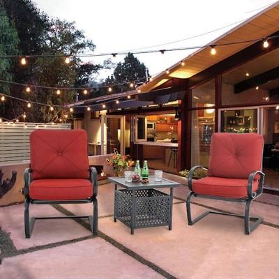 3pc Patio Bistro Set with Square Umbrella Table - Red - Captiva Designs