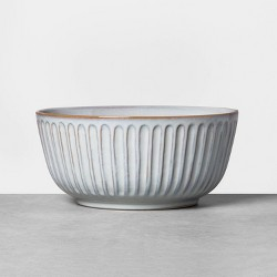 Stoneware Carving Footed Serve Bowl Blue - Hearth & Hand™ with Magnolia