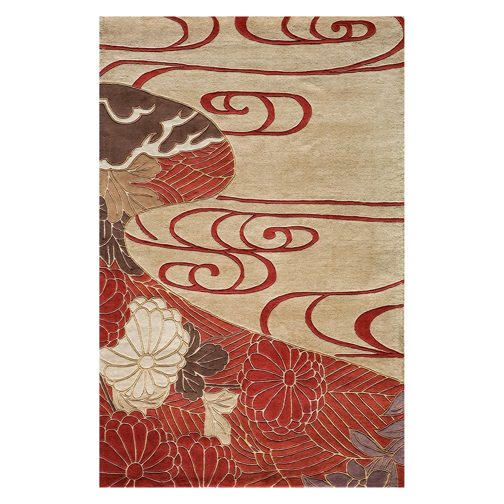 5'3X8' Floral Tufted Area Rug Red - Momeni, Green