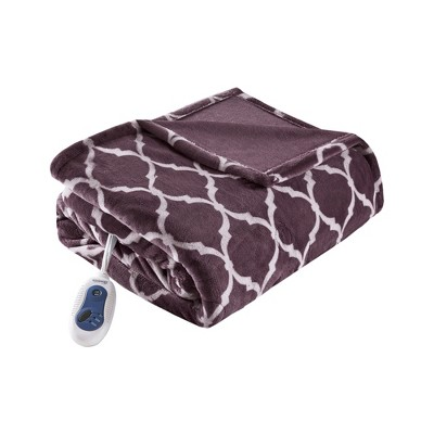 "Electric Ogee Printed Oversized Throw 60x70"" Purple - Beautyrest"