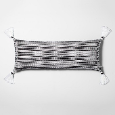 Oversized Geo Texture Lumbar Throw Pillow Railroad Gray/Black - Hearth & Hand™ with Magnolia