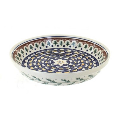 Blue Rose Polish Pottery Evergreen Pie Plate