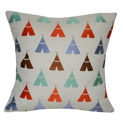 "Linen Teepee Throw Pillow (22"" x 22"") - Loom & Mill - image 1 of 2"
