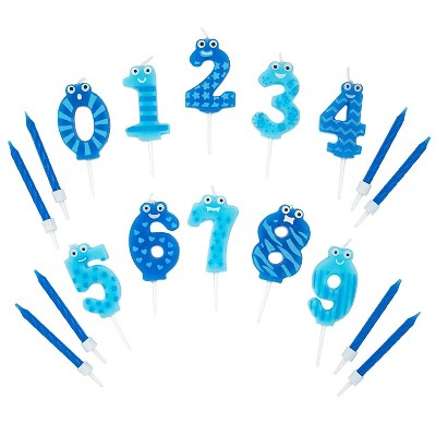 Blue Panda 154-Piece Blue Numbers 0-9 and Short Birthday Cake Topper Candles in Holder for Party Decor