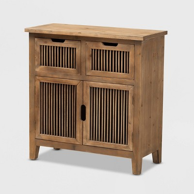 Clement 2 Door Wood Spindle Accent Storage With 2 Drawer Cabinet Brown - Baxton Studio