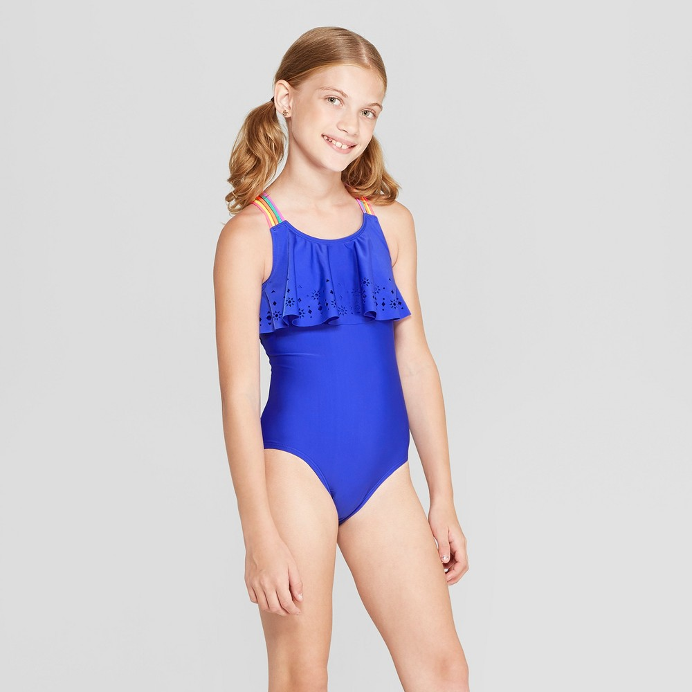 Plus Size Girls' Laser Cut One Piece Swimsuit - Cat & Jack Blue L Plus
