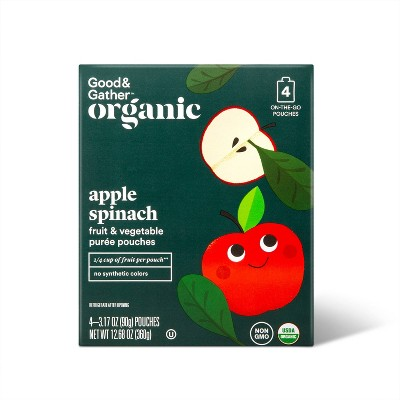 Organic Applesauce Pouches -  Apple Spinach - 4ct - Good & Gather™