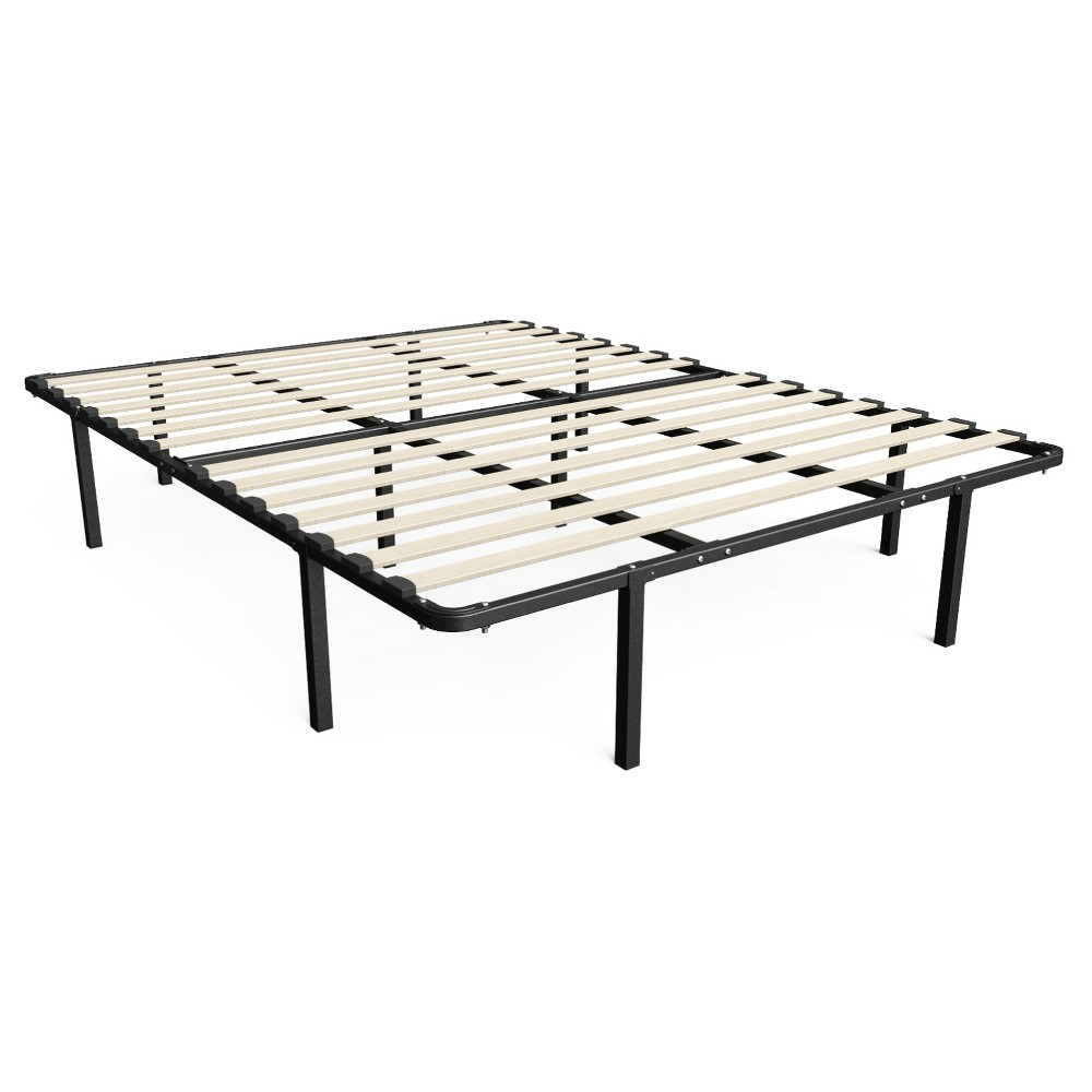 "Image of ""14"""" Queen Cynthia My Euro Smart Base/Wooden Slats Mattress Foundation - Zinus, Black"""