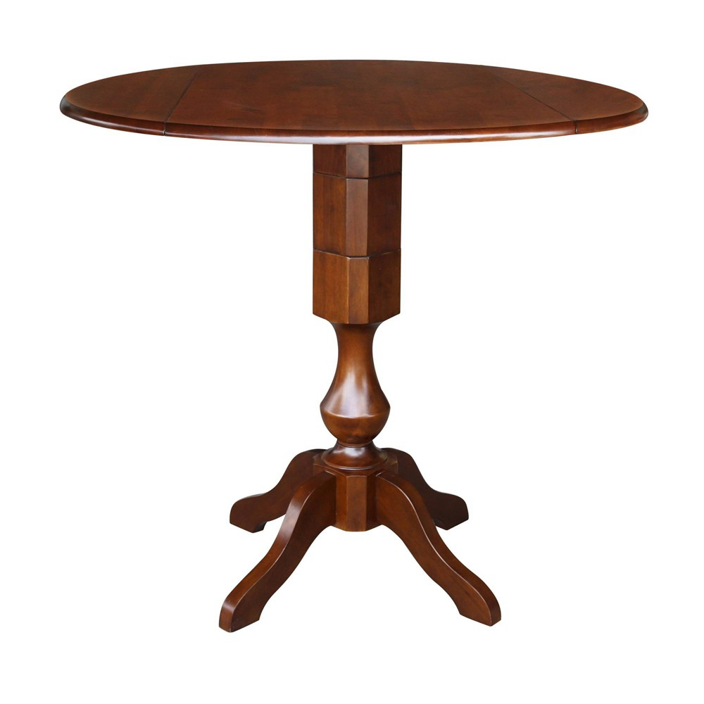 42.3 Dinah Round Top Dual Drop Leaf Pedestal Table Espresso Brown - International Concepts