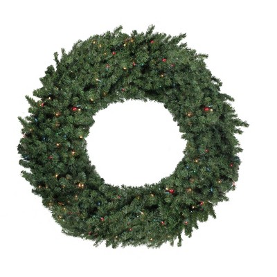 """Northlight 60"""" Prelit Commercial Canadian Pine Artificial Christmas Wreath - Multi Lights"""