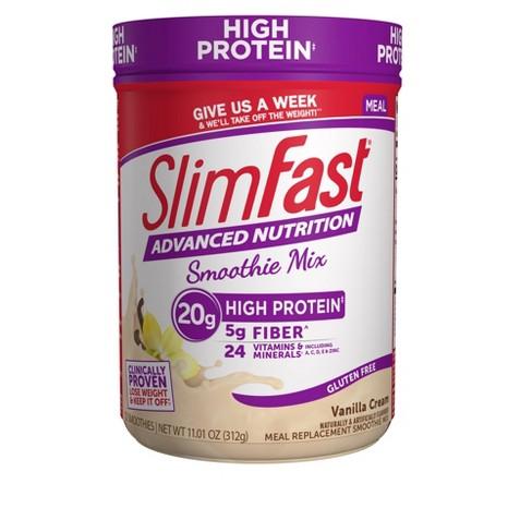 SlimFast Advanced Nutrition High Protein Smoothie Mix - Vanilla Cream - 11.4oz - image 1 of 4