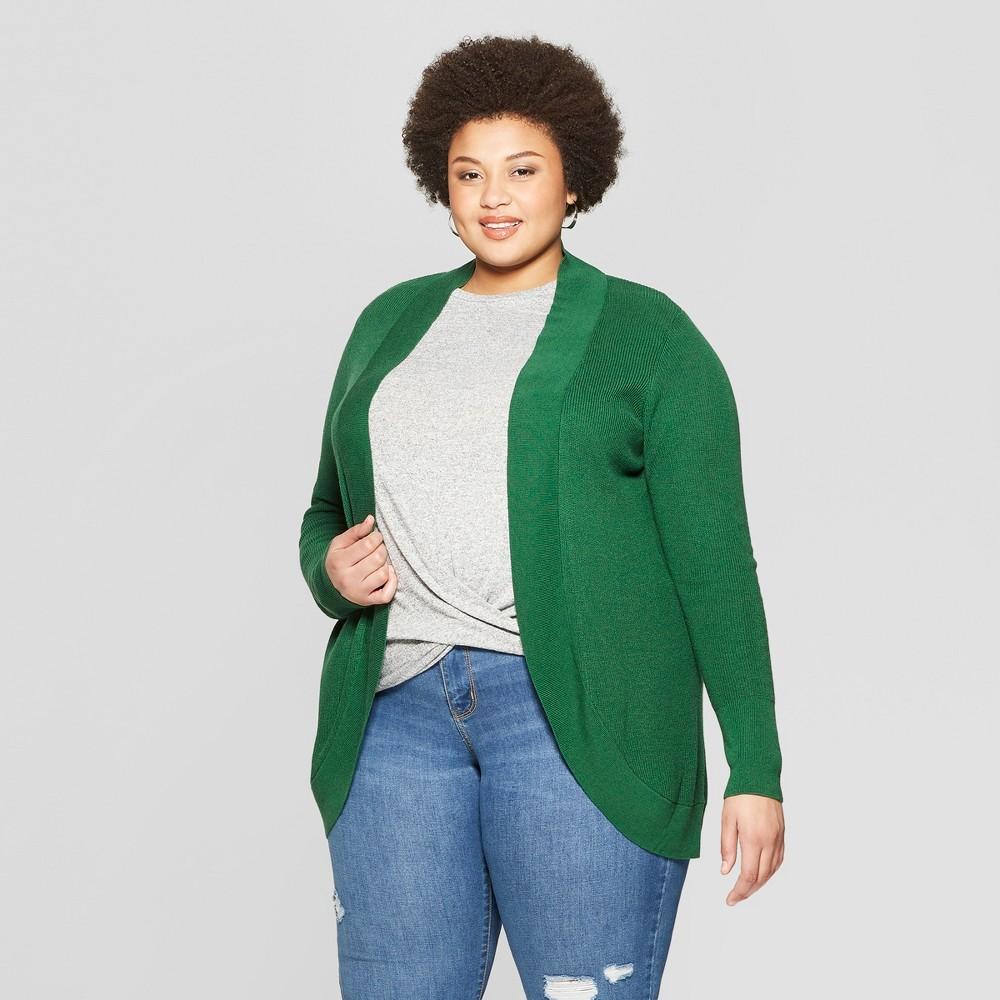 Women's Plus Size Long Sleeve Open Layering Cocoon Cardigan - Ava & Viv Green 2X