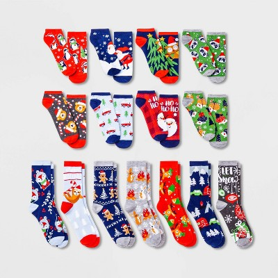 Women's Christmas Critters 15 Days of Socks Advent Calendar - Assorted Colors 4-10