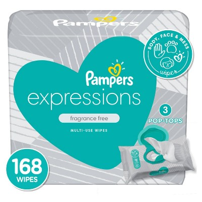 Pampers Expressions Baby Wipes Unscented - 168ct