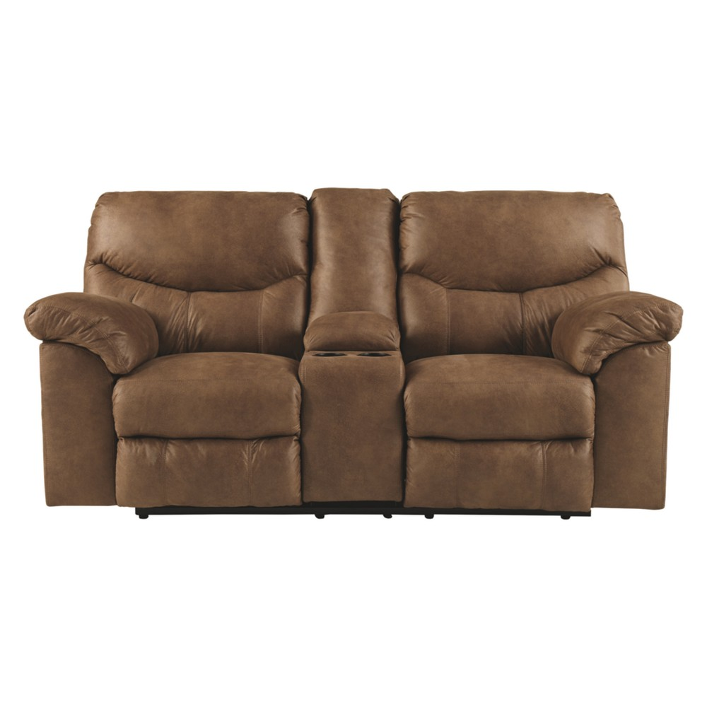 Boxberg Double Reclining Loveseat With Console Bark Brown - Signature Design by Ashley