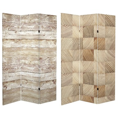 """6"""" Double Sided Pale Wood Pattern Canvas Room Divider Brown - Oriental Furniture"""