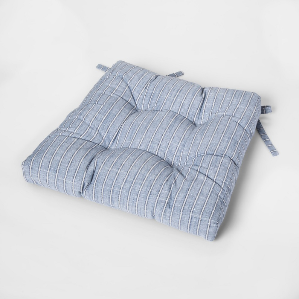 Image of Blue Stripe Square Chairpad - Threshold
