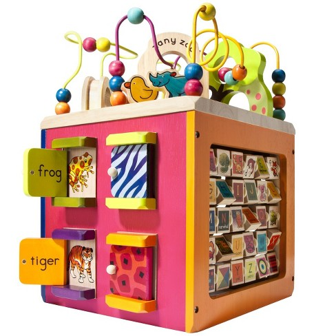 B toys Zany Zoo Wooden Activity Cube - image 1 of 6