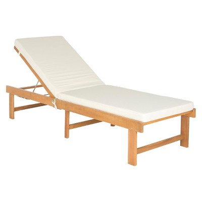 Barcares Wood Patio Chaise - Safavieh